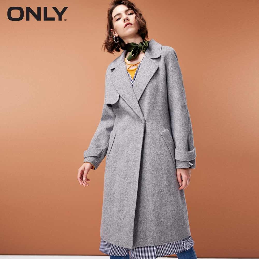ONLY  womens' winter new wool long coat with woolen coat Side pocke Tie-up belt|11834S529