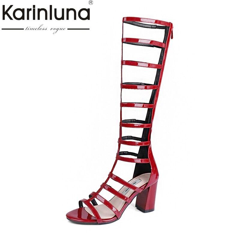 KarinLuna 2018 New Large Size 32-44 knee-high Boots woman chunky High Heels zip up summer boots Shoes Women