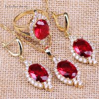 L B Wedding Party Present Rose Gold Red Crystal Rhinestone White Created Topaz Earrings Necklace Pendant