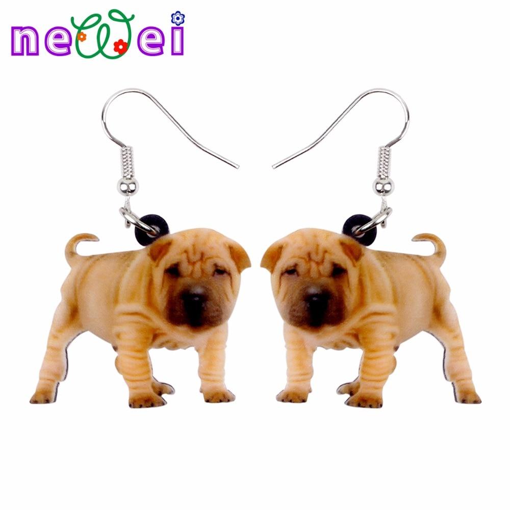 NEWEI Acrylic Bulldog Puppy Dog Earrings Big Long Dangle Drop Gift for Women Girl Ladies Teens Fashion Animal Jewelry Wholesale