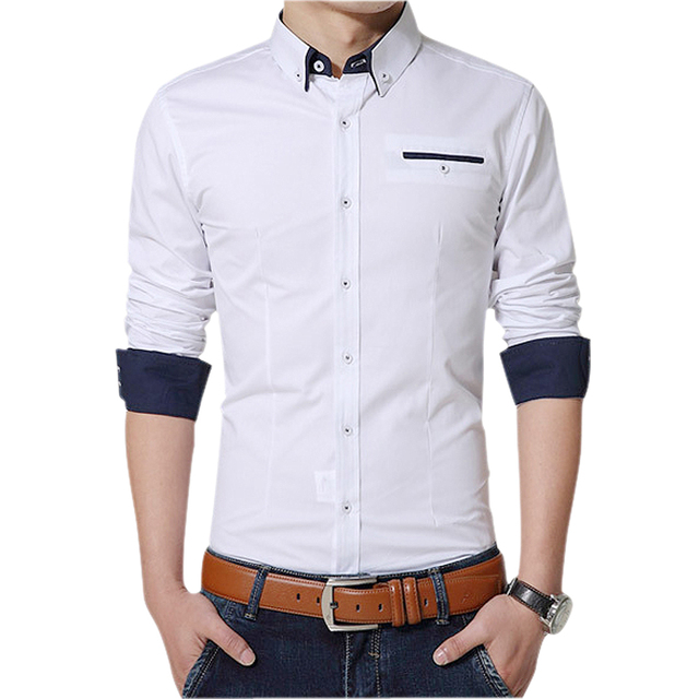 2017 los nuevos hombres Camisas solapa manga larga camisa casual hombres  slim fit camisa social formal 7c2662fcf2a92