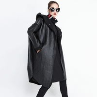SuperAen 2018 Autumn and Winter Fashion New Leather Trench Coat for Women Wild Irregular Velvet Hooded Windbreaker Female