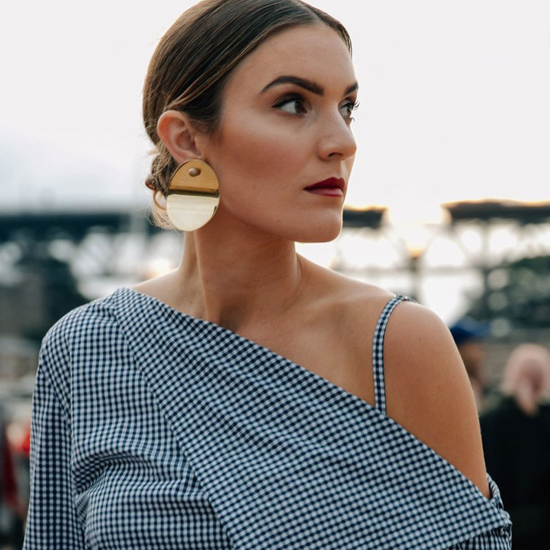 Tocona Punk Sequins Metal Earrings for Women Hyperbole Gold Silver Alloy Drop Dangle Earring Party Jewelry Brincos 6141