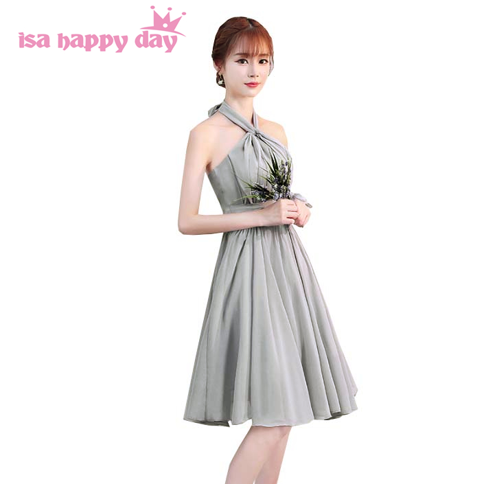 2019 new fashion teenage grey halter neck a line   bridesmaid     dresses   short bridemaids   dress   gown for engagement wedding H4128