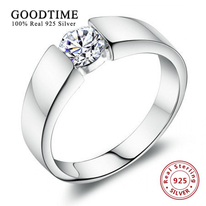 Vyriški sidabro papuošalų mados žiedai 100% 925 sidabrinių žiedų komplektas 1 karatų SONA cirkonio sužadėtuvių žiedas GTR016