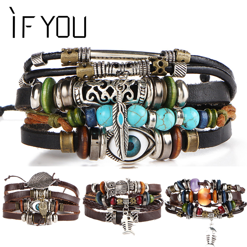 IF YOU Puck Feather Multilayer Leather Bracelet Men Bohemia Charm Eye Fish Mens Bracelets 2019 Wrap Pulseira Gift Jewelry New