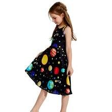 e2edb6dd0 Verano Bebé Vestidos de niñas jóvenes adolescentes niños sin mangas Niña  planetas vestido de fiesta de la escuela vestido ropa v.