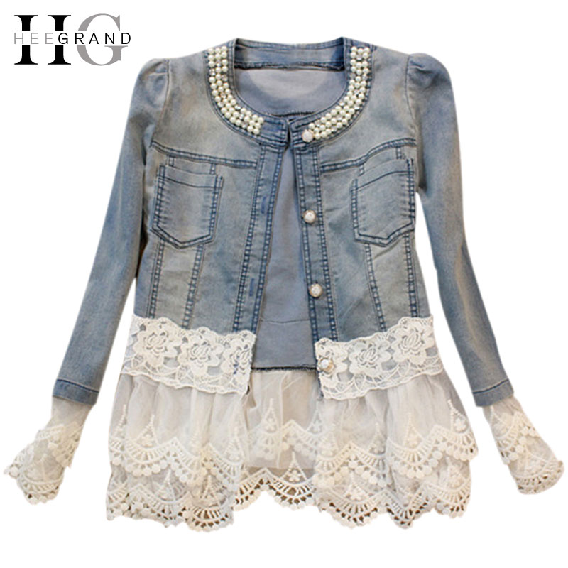 HEE GRAND Jeans Jacket Women Casacos Feminino Slim Lace Patchwork Beading Denim Lady Elegant Vintage Jackets Coat DropshipWWJ084