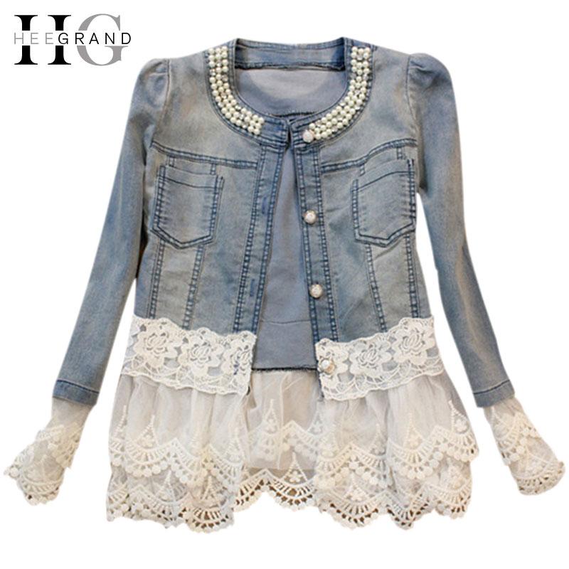 HEE GRAND <font><b>Jeans</b></font> Jacket Women Casacos Feminino Slim Lace Patchwork Beading Denim Lady Elegant Vintage Jackets Coat DropshipWWJ084