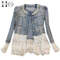 Jeans Jacket Women Casacos Feminino Slim Lace Patchwork Beading Denim Lady Elegant Vintage Jackets Coat Free