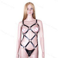 Sex Erotic Self Restraints, Leather Couple Sleep Underwear Toys,Adjustable Buckles Body Chest Harness Belt Straps Sexy Cage Set