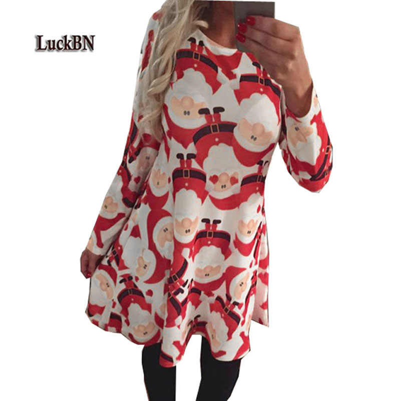 Plus Size Vestidos Winter Women Dresses Casual Cute Printed Christmas Dress Casual 2019 Loose Party Short Dress S-5XL Large Size