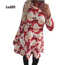 Plus Size Vestidos Winter Women Dresses Casual Cute Printed Christmas Dress 2019 Loose Party Short S-5XL Large