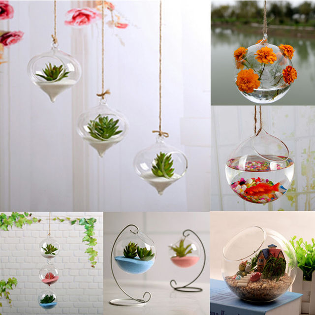 Fashion Transparent Home Garden Clear Glass Flower Plant Stand Hanging Vase Planter Terrarium Container New Home Office Decor 3