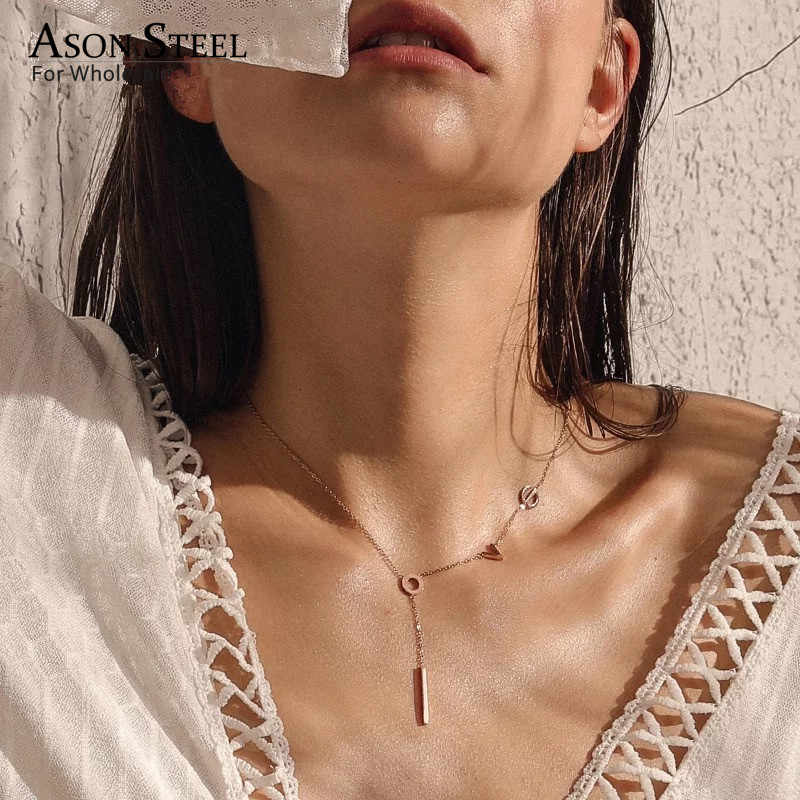ASONSTEEL New Letter Love Pendant Necklaces Stainless Steel Gold/Silver/Rose Gold Tassel Link Chain Necklace Women Collars