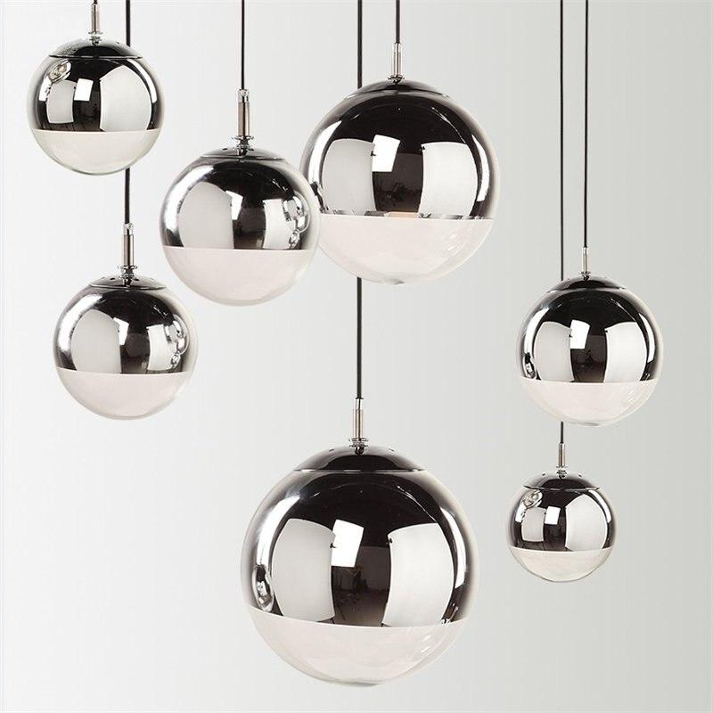 Modern Design Glass Ball LED Pendant Lights LED  Art Gold Hanging Lamp Mirror Shade Bedroom Bar Living Room Light Fixtures