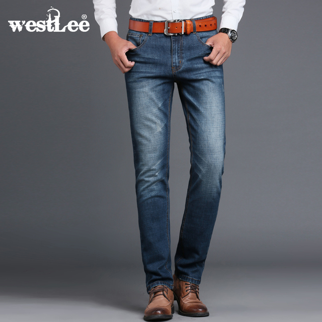 41c0fe470f392 Westlee Mens Brand Jeans Relaxed Fit Straight Denim Jeans Stretch Pants Men  Cotton Casual Regular Jeans Business Vaqueros Hombre