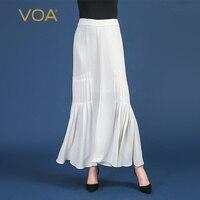 VOA тяжелый шелк русалка юбки однотонные Белые Офисные юбки длинные для женщин; Большие размеры 5XL Повседневное Высокая талия элегантный кра