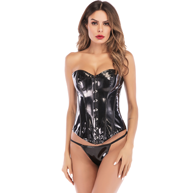 MYLEY Plastic Boned PVC Corset Lace Up Ribbon Overbust Women Satin Bustier Top Corset Buckle-up Corset With G-string