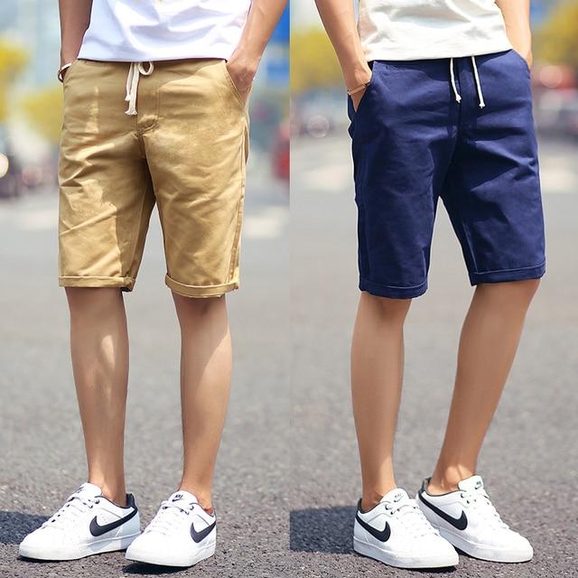 Shorts Men 2016 Summer Fashion Solid Mens Shorts Casual Cotton Slim Bermuda Masculina Beach Shorts Classic Knee Length Shorts