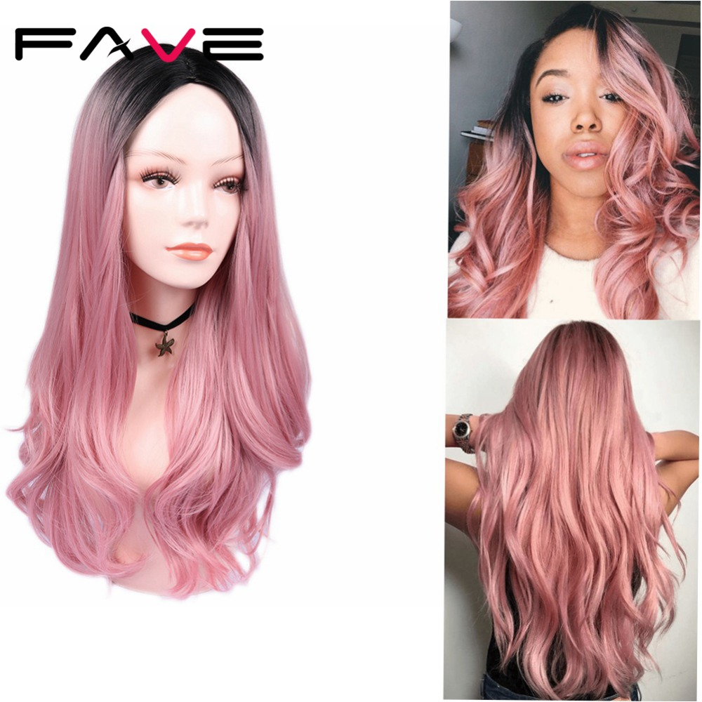 FAVE Synthetic Wig Ombre Light Rose-Gold Middle-Part Cosplay Body-Wave Brown Premium