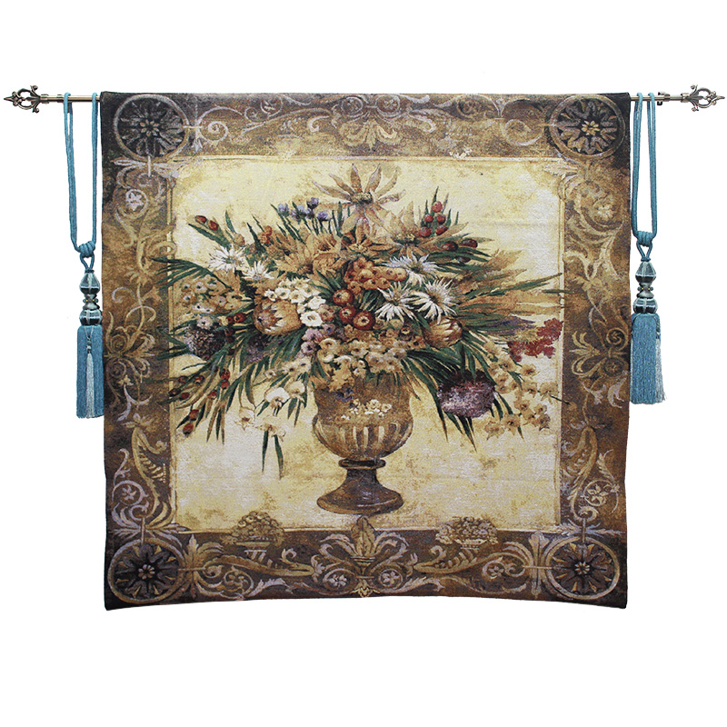 Elegant Belgium Tapestries Tuscany Potted Flower Floral Jacquard Tapestry Fabric Picture Tapestry Wall Hangings Mural 138