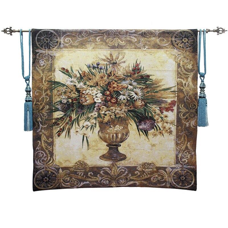 Élégant belgique tapisseries toscane en pot fleur Floral Jacquard tapisserie tissu photo tapisserie tentures murales Mural 138*138 cm
