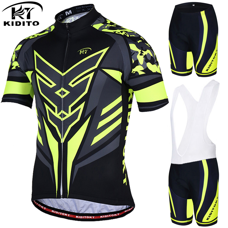 KIDITOKT Flour Yellow Summer Cycling Jersey Set Cycling Clothing Suit Short Sleeve MTB Bicycle Clothes Mountain Bike Sportswear