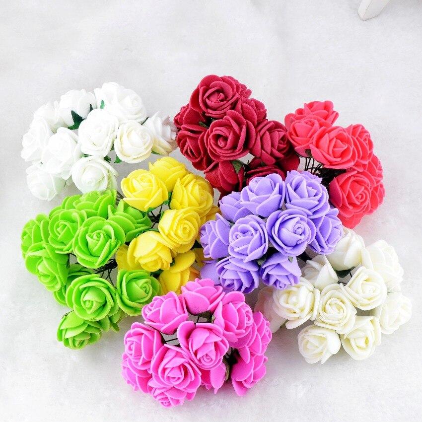 (144pcs/lot)2CM Multicolor PE Rose Foam Mini artificial silk flowers Bouquet Solid Color/wedding decorative flowers wreaths