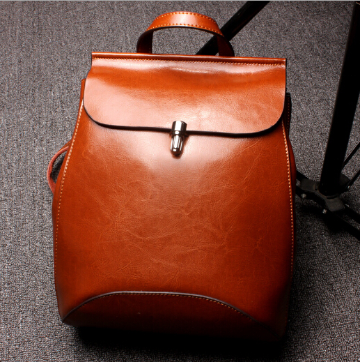 Fashion women real cow leather backpack two shoulder small backpack for travel campus student multi function