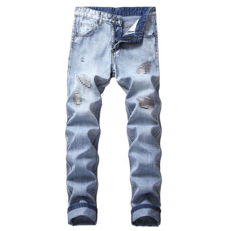 Новинка 2019 мужские рваные и бодибилдинг джинсы с вышивкой пряжей| |