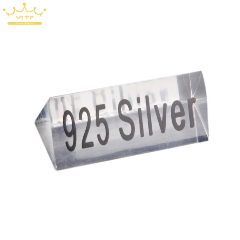 Clear Acrylic 925 Silver Signage Counter Display Tag Card Jewelry Store Accessories Necessity Lable