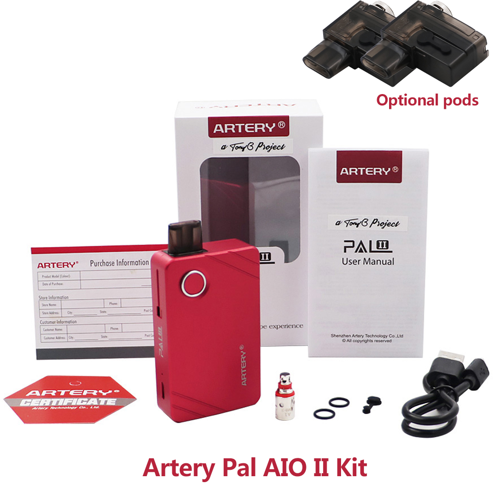 Artery Pal AIO II Kit 1000mah with 3ml tank pod suit 1.2ohm/mesh 0.6ohm coils MTL Vape <font><b>E</b></font> <font><b>cigarette</b></font> big vapor Artery Pal kit image