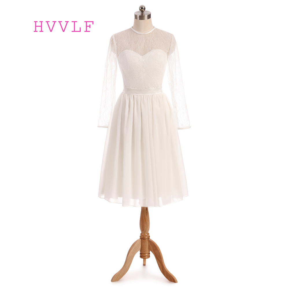 2019 Vestidos De Novia A-line High Collar Long Sleeves Knee Length Lace Short Wedding Dresses Wedding Gown Bridal Dresses