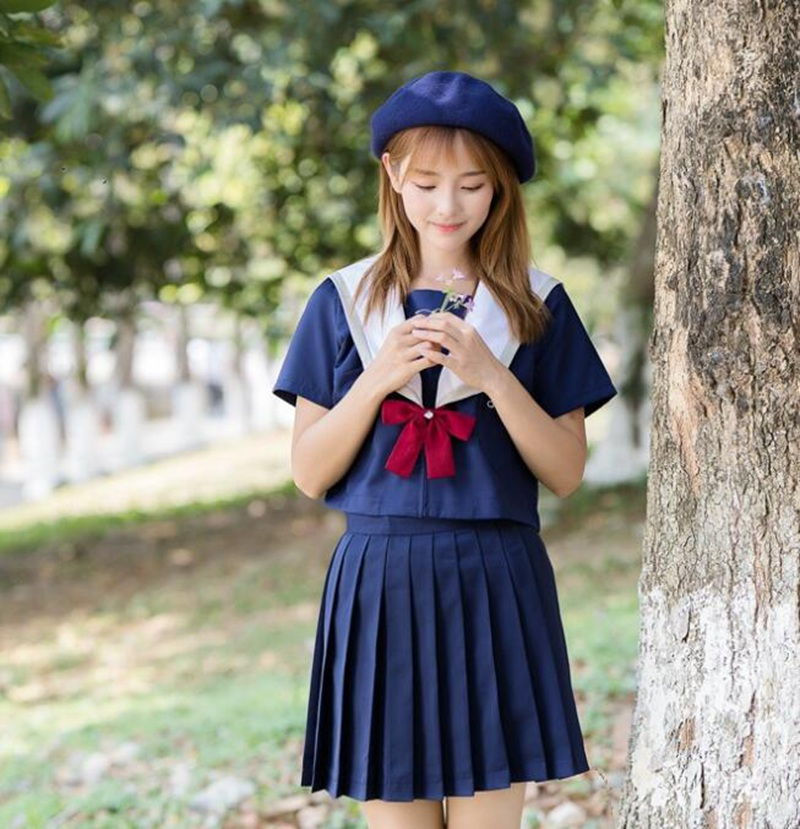 Costume uniforme JK bleu marine filles broderie mignon étudiant japonais col marin haut jupe plissée ensemble (sans chapeau)