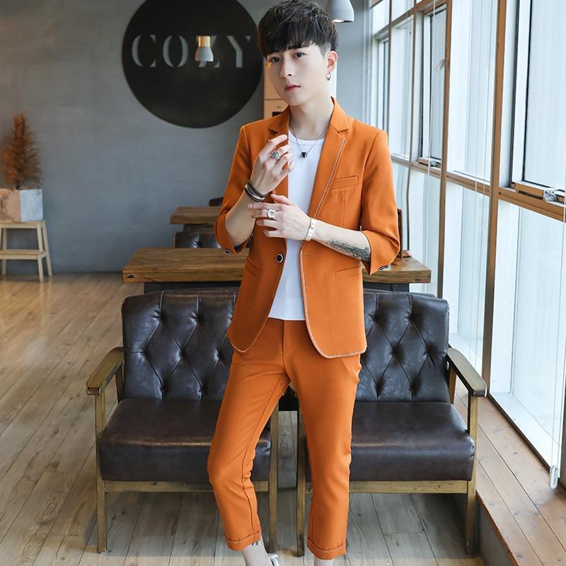 Summer Seven Points Sleeve Seven Pants Suit Male Wedding Banquet Etiquette Men's Suits Two Piece Coats Pants New Product