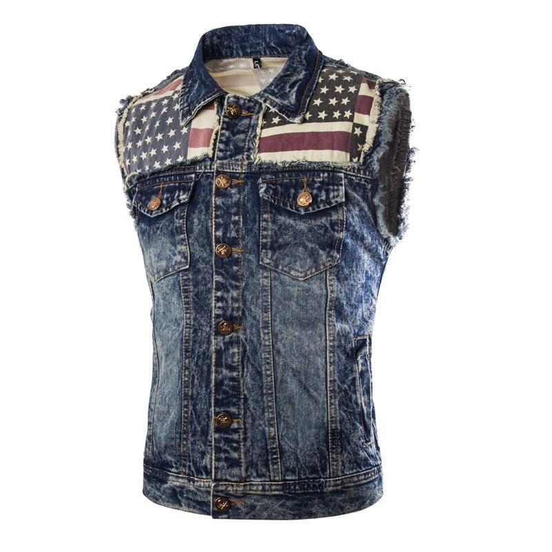 Classic Mens Causal Vest Skulls Button Designs Blue Denim Sleeveless Jackets Male Brand Clothing Mens Waistcoat Jeans Vests