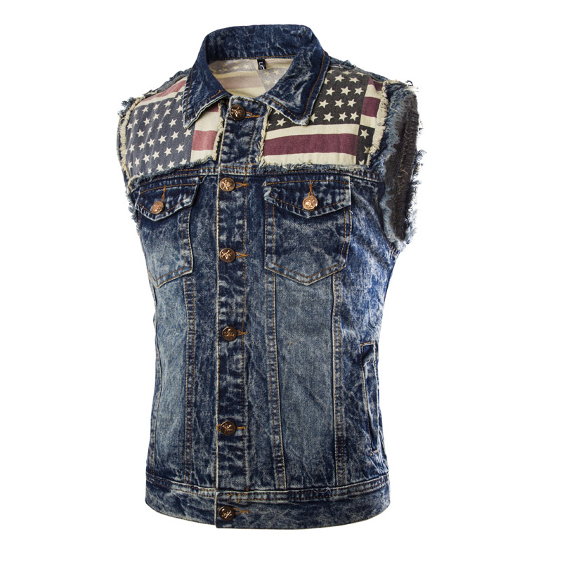 Classic Mens Causal Vest Skulls Button Designs Blue Denim Sleeveless Jackets Male Brand Clothing Mens Waistcoat Jeans Vests