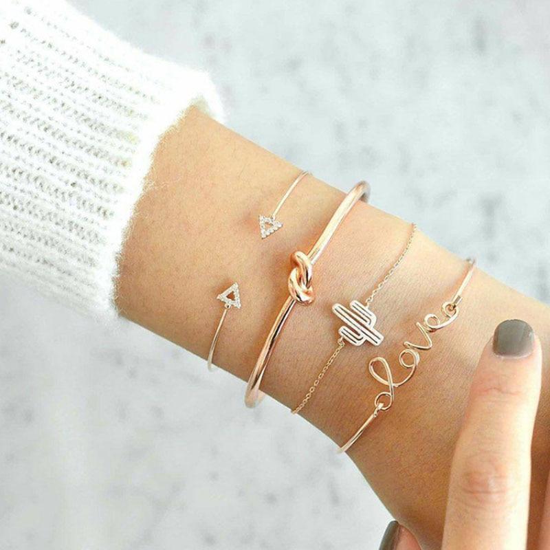 Ckysee 4pcs/1set Gold Color Cactus Letter Knot Bangle &Bracelet Bohemian Geometric Metal Chain Bracelet Statement Jewelry