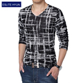2017 Nuevos Mens Camisetas de Moda Con Cuello En V Slim Fit de Manga Larga argyle algodón t shirt mens clothing t-shirt casual top 4xl 5xl