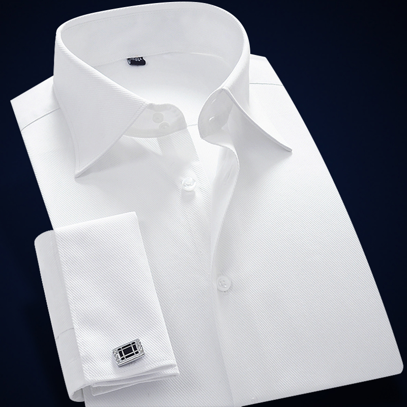 Men Shirt Cufflinks French Cuff Mens Dress Shirts Long