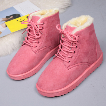 Hot Sale New Fashion Winter Warm Women Ankle Boots Round Toe 3CM Platform Soild Ladies Shoes Plush Fur Insole Warm Ladies Boots