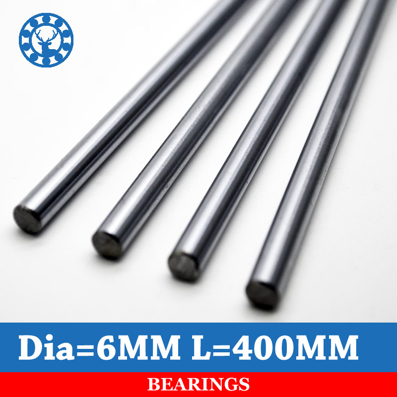 2 Pc 6mm Linear Shaft Chrome OD 6mm L 400mm WCS Round Steel Rod Bar Cylinder Linear Rail For xyz cnc parts 2pcs cnc linear shaft chrome od 8mm l 300mm rail round steel rod bar cylinder