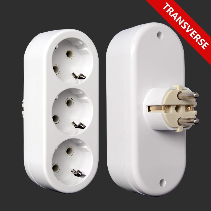 EU Type German Standard 2-hole 1 TO 3 Way Conversion Socket  Power Adapter Plug 16A Travel Plugs AC 250V