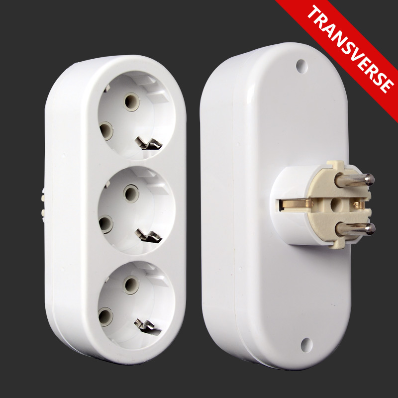 European Type Conversion Plug 1 TO 3 Way EU Standard Power Adapter Socket 16A Travel Plugs AC 250V