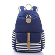 Для девочек Школьный рюкзак легкий Полосатый Холст Школьные рюкзаки для девочек-подростков школьный рюкзак Bookbags