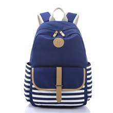 Girl School Backpack Lightweight Striped Canvas School Backpacks for Teenager Girls School Rucksack Bookbags