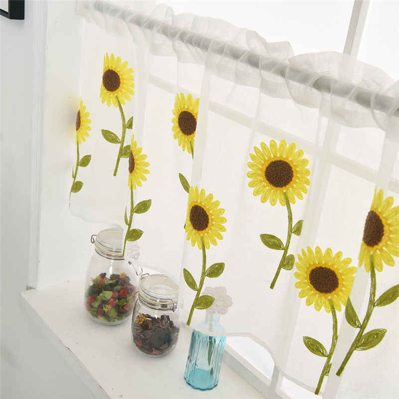 Yellow floral window tulle curtains for living room bedroom flowers organza sheer curtains for kitchen daisy voile curtains L4