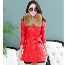 Winter cotton casual leather double breasted Jackets women's Fur casual Slim long jacket