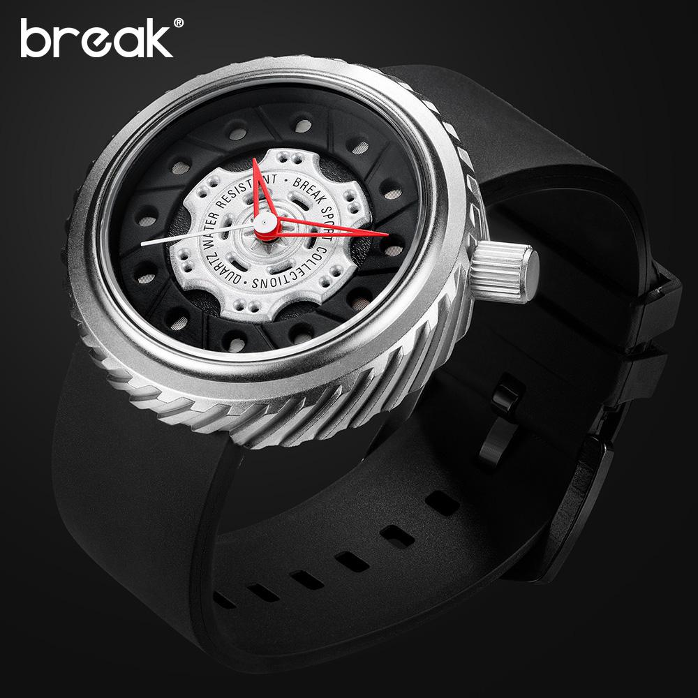 Prix pour BREAK De Luxe Hommes Fou Vitesse Sport Montres Bracelet En Caoutchouc Casual Mode Ville Passion Étanche Geek Creative Cadeau Montre-Bracelet